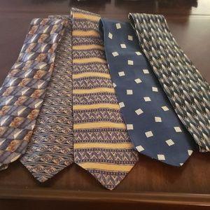 5 Vintage 100% Silk Ties